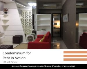 1BR with Parking Avalon Condominium for Rent in Cebu Business Park